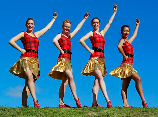 310812. Arts. Photo:Emma Allen/Marlborough Express. L-R Sara Simmons, 29,  Danielle Pope, 16, Harriet Lintern, 18, and Shirana Rengasamy, 17 are four of five Blenheim dancers going to China as part of the Highland Dance Company of New Zealand.